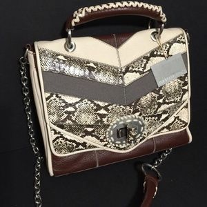 Isabella Fiore Jackie Flap Snake Print Leather Bag